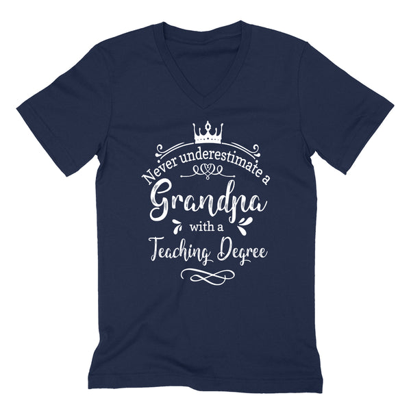 Never underestimate a grandpa with a teaching  degree  V Neck T Shirt