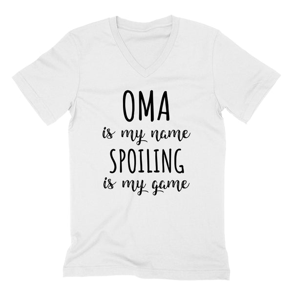 Oma is my name spoiling is my game Mother's day birthday gift for grandma grandmother  V Neck T Shirt