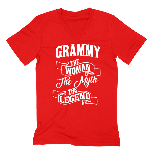 Grammy the woman the myth the legend birthday mother's day Christmas xmas family V Neck T Shirt