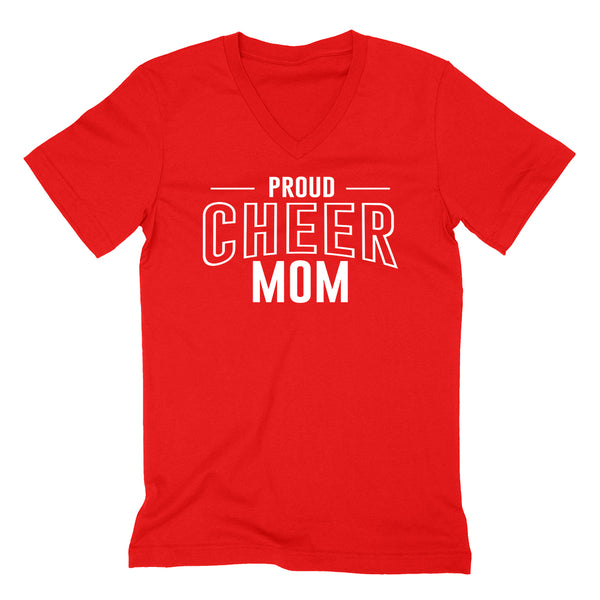 Proud cheer mom team squad game day sport mom love cheerleading Mother's day  V Neck T Shirt