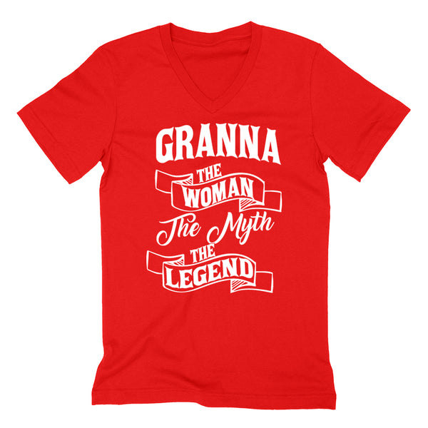Granna the woman the myth the legend birthday mother's day Christmas xmas family V Neck T Shirt