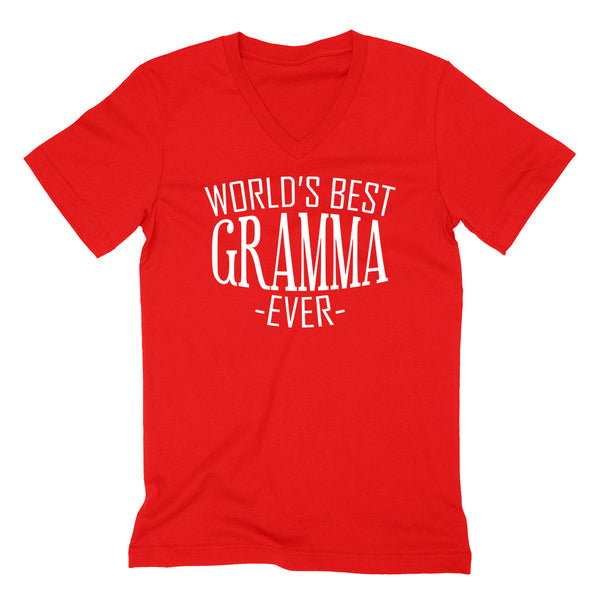 World's best gramma ever  family mother's day birthday christmas  gift ideas  best grandma  grandmother  V Neck T Shirt