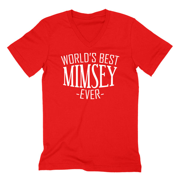 World's best mimsey ever  family mother's day birthday christmas  gift ideas  best grandma  grandmother  V Neck T Shirt