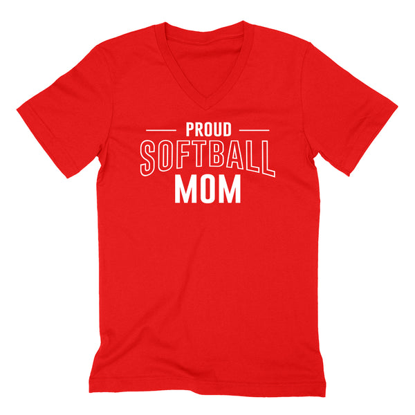 Proud softball mom team squad game day sport mom love softball  Mother's day  V Neck T Shirt