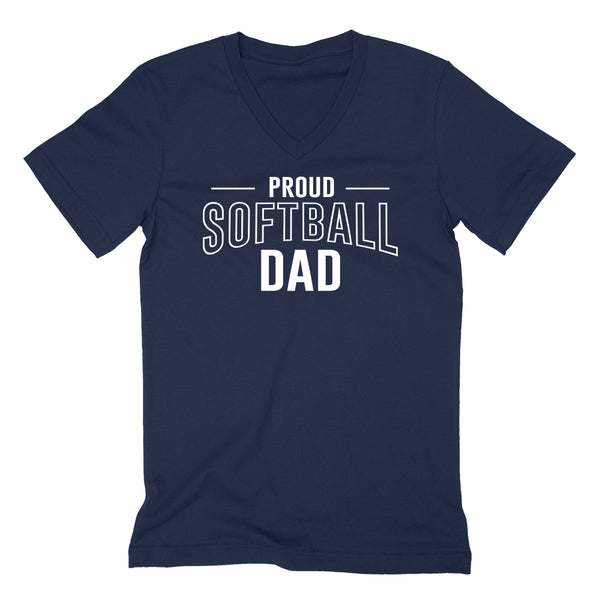 Proud softball dad  team squad game day sport dad love softball  Father's day  V Neck T Shirt