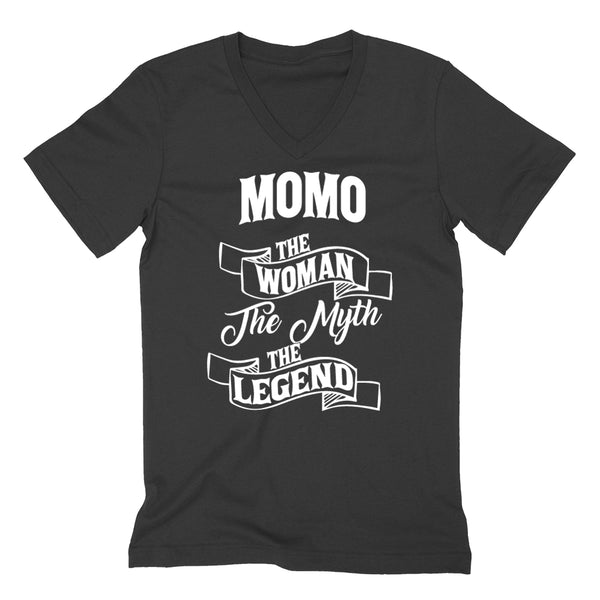 Momo the woman the myth the legend birthday mother's day Christmas xmas family V Neck T Shirt