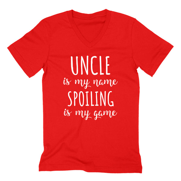 Uncle is my name spoiling is my game Father's day birthday gift for awesome uncle  V Neck T Shirt
