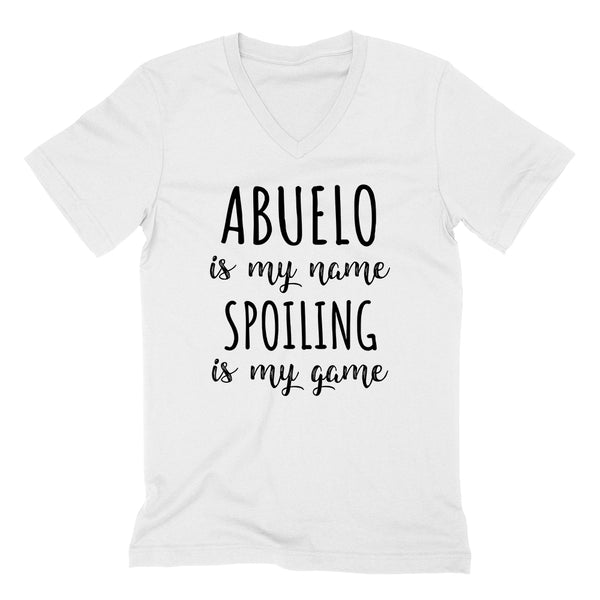 Abuelo is my name spoiling is my game Father's day birthday gift for grandpa grandfather  V Neck T Shirt