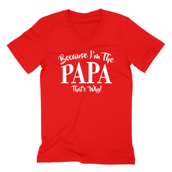 Because I'm the papa that's why funny family grandparents birthday holiday V Neck T Shirt