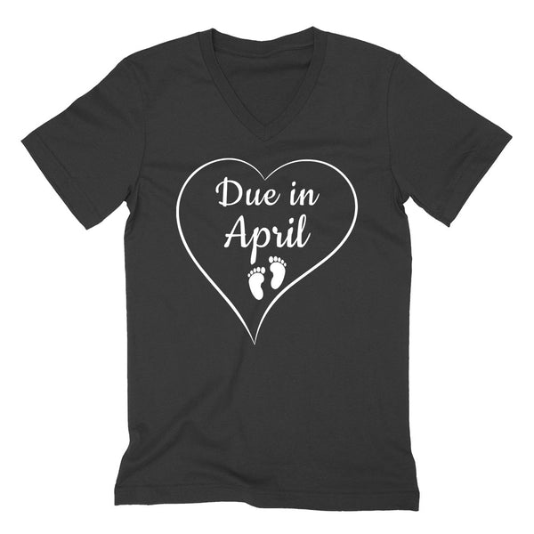 Due in April pregnancy announcement baby reveal baby shower Mother's day gift  V Neck T Shirt