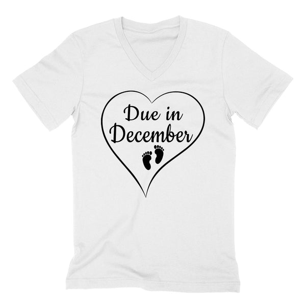 Due in December pregnancy announcement baby reveal baby shower Mother's day gift  V Neck T Shirt