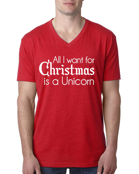 All I want for Christmas is a unicorn V Neck T Shirt
