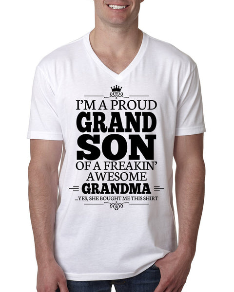 I'm a proudgrandson of a freakin' awesome grandma V Neck T Shirt