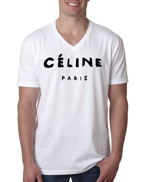 Celine paris V Neck T Shirt