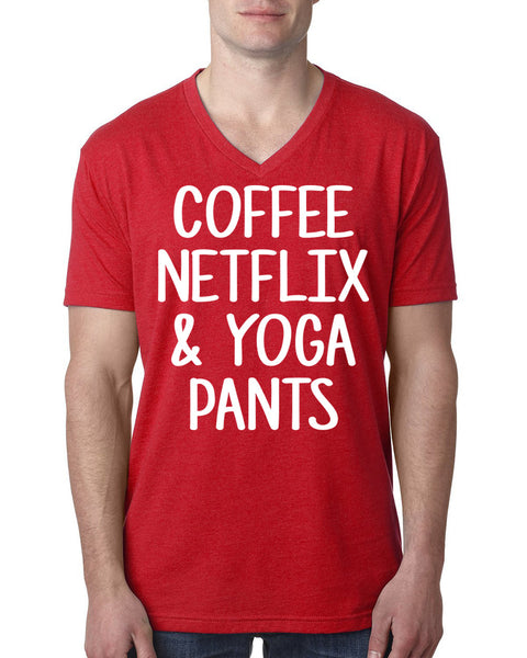 Coffee netflix & yoga pants V Neck T Shirt