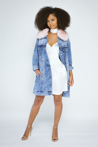 Denim Trench Pink Faux Fur