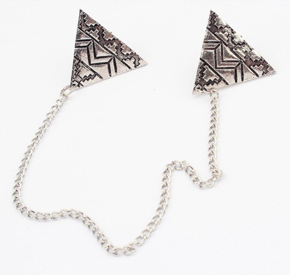 Silver Chain Collar Pin