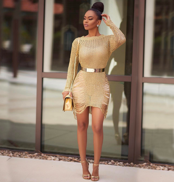 Metallic Shredded Sweater Dress