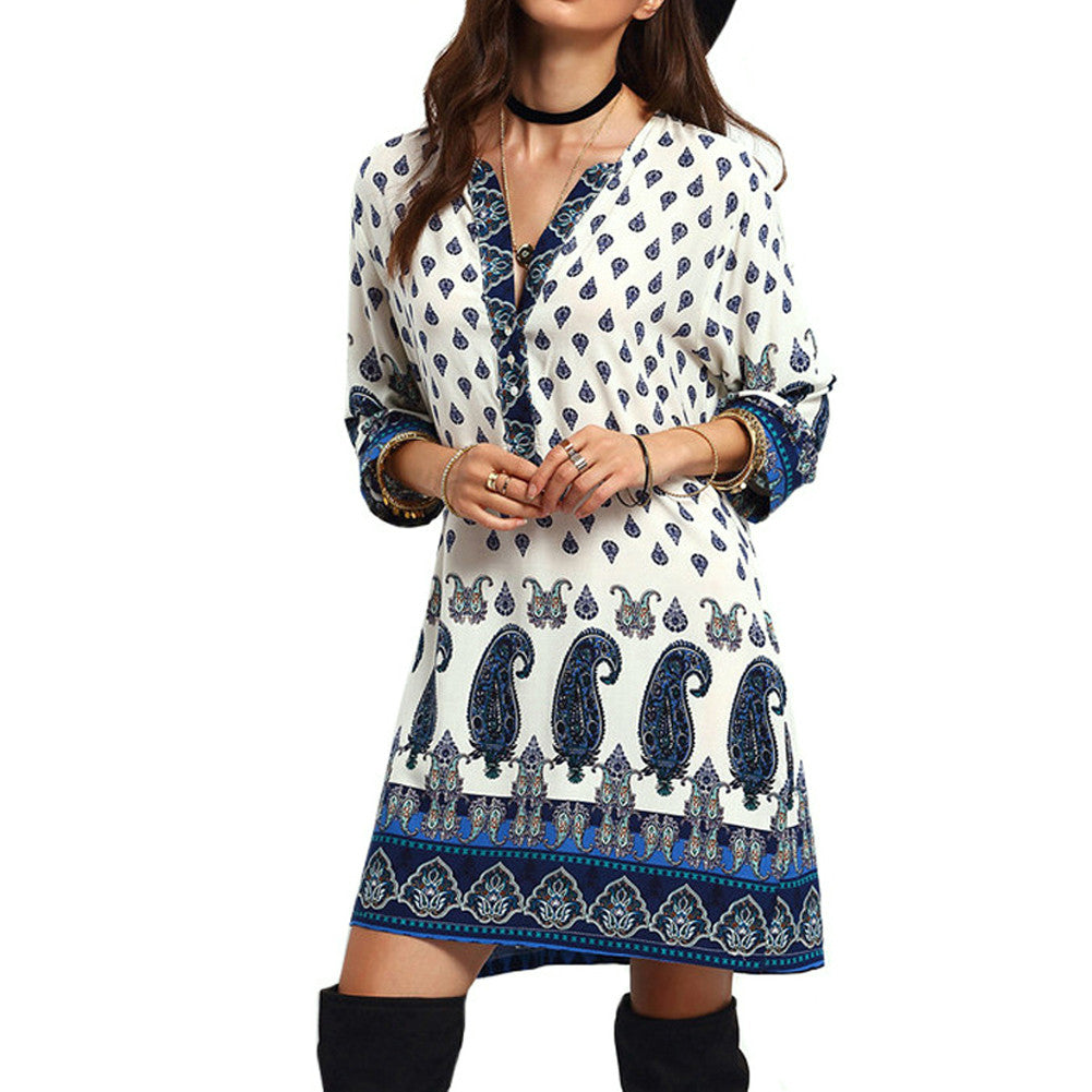 Womens Dress Autumn Long Sleeve Floral bohemian