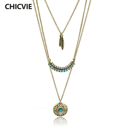 Long Bohemian Gold plated turquoise necklace
