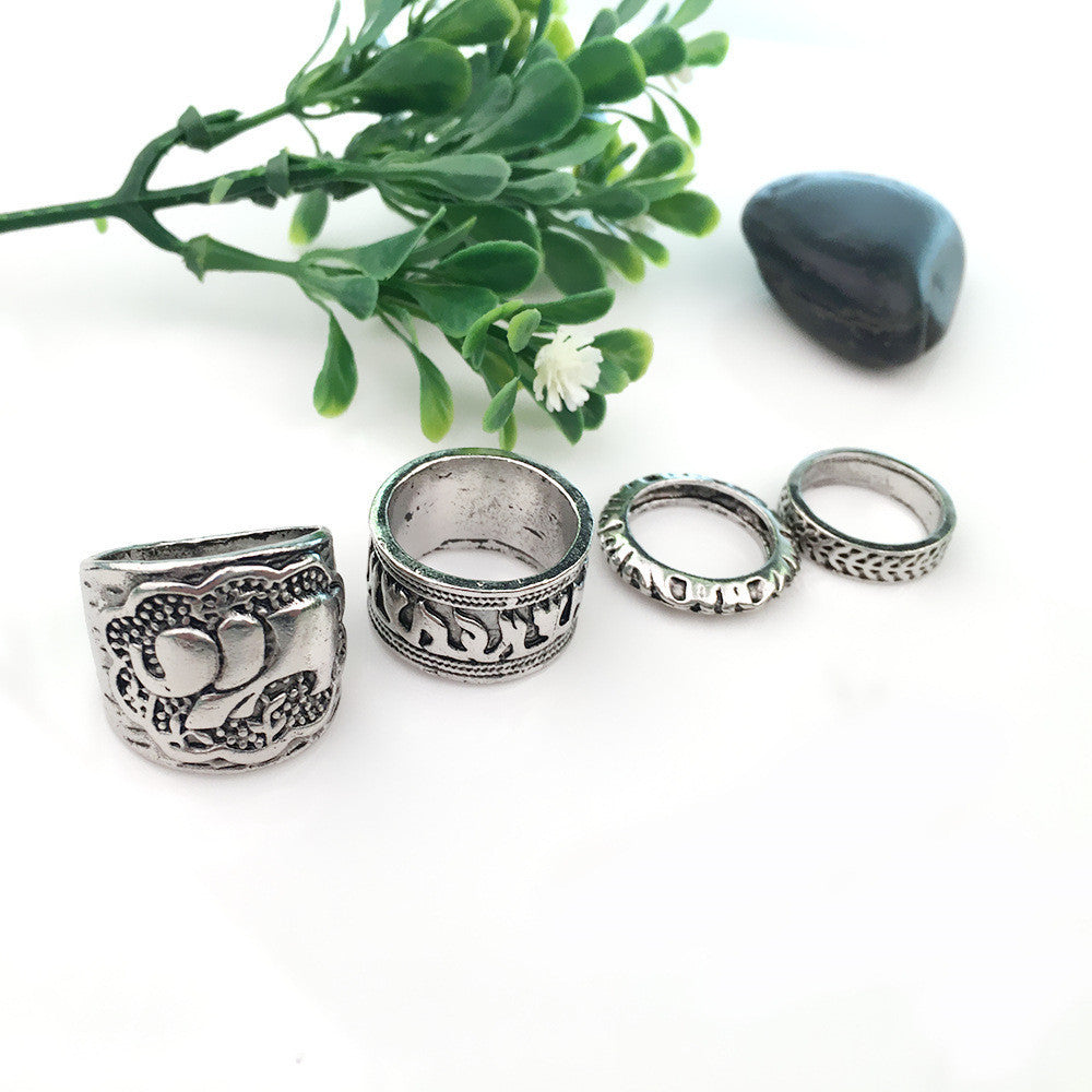 Bohemian Style 4 Piece Ring Set