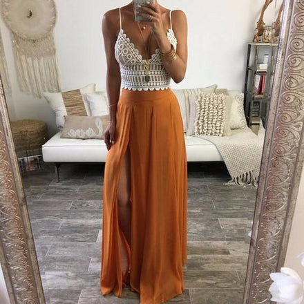 Chiffon Orange Maxi Skirt