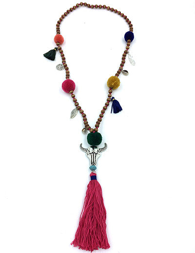 Desert Skull Tassel Necklace