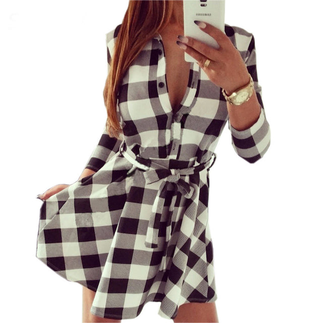 Vintage Dresses Autumn Fall Women Plaid Check Print
