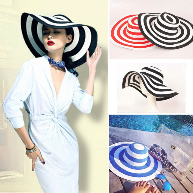 Retro Striped Beach Hat