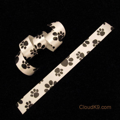 "Black Paw Print Ribbon (3/8"" Wide)"