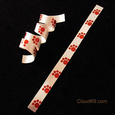 "Red Paw Print Curling Ribbon (THIN=1/4"" Wide)"