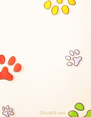 Multi Color Paw Prints Cello Treat Bags