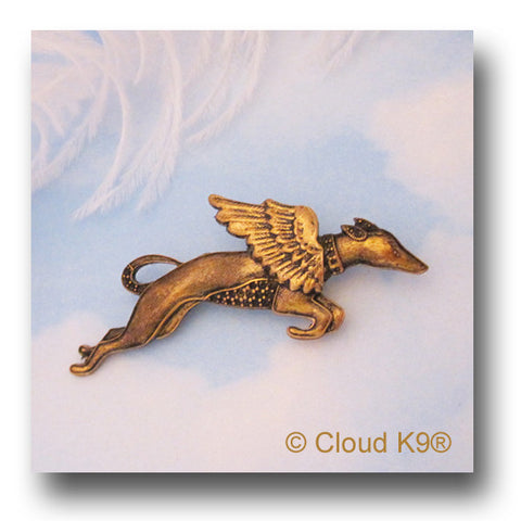 Racing Greyhound Angel Dog Pin