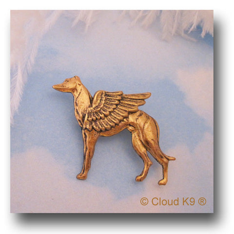 Whippet Guardian Angel Dog Pin
