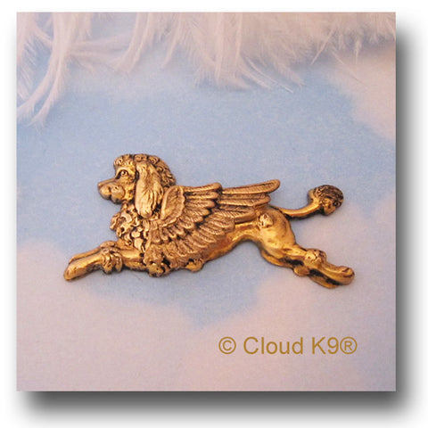 Poodle Angel Dog Pin