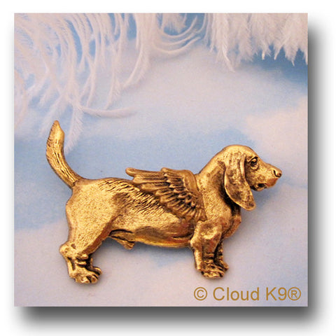 Basset Hound Angel Dog Pin / Jewelry