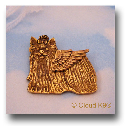 Yorkie Guardian Angel Dog Pin