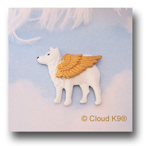 Spitz Guardian Angel Dog Pin