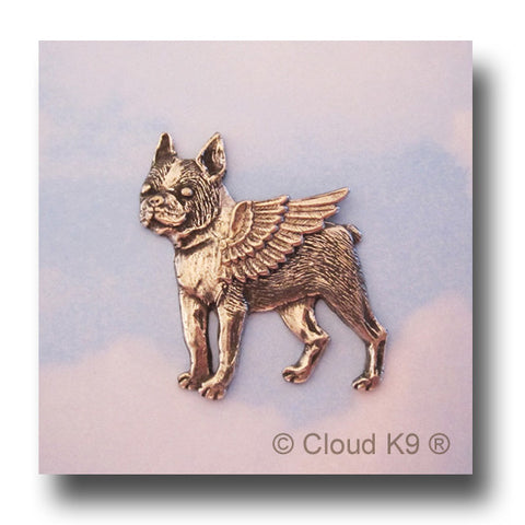 Boston Terrier Angel Dog Pin
