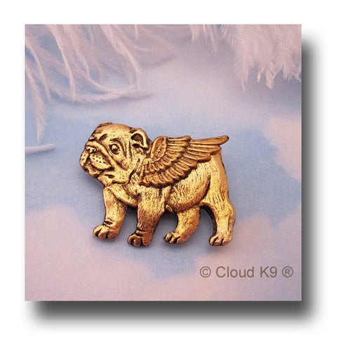 Bulldog Guardian Angel Dog Pin
