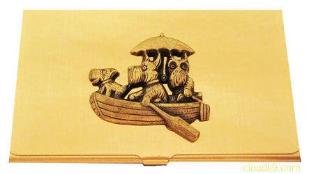 Scottie / Schnauzer in Boat Business Card Case