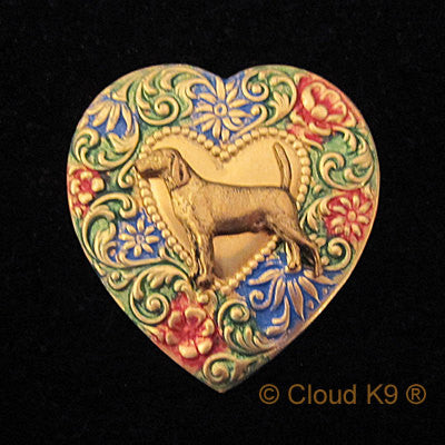 Foxhound Colorful Heart Brooch Pin