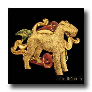 Airedale Jewelry: Airedale Terrier Lily Brooch Pin
