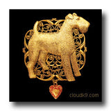 Airedale Terrier Jewelry Gifts: Filigree Brooch Pin
