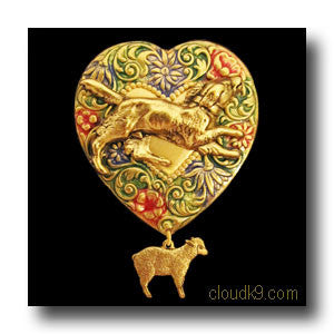 Border Collie & Sheep Colorful Heart Brooch Pin