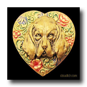Bloodhound Colorful Heart Brooch Pin