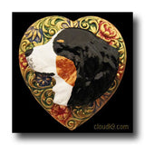 Bernese Mountain Dog Colorful Heart Brooch Pin