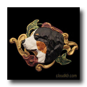 Bernese Mountain Dog & Lilies Hand Painted Brooch Pin