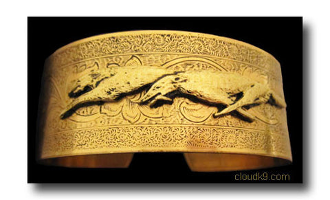 Russian Wolfhound Cuff Bracelet (Racing Wolfhounds)