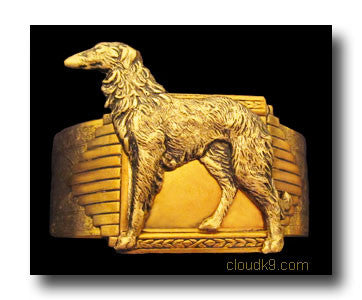 Russian Wolfhound Cuff Bracelet (Standing Wolfhound)